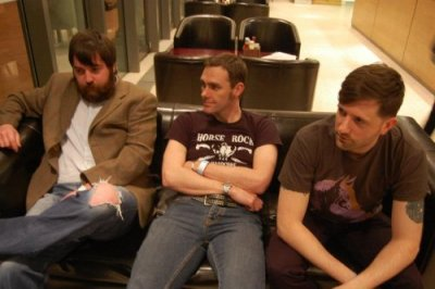 Justin Leisk, Paul Bulger & Alex Delmonte of Horse Rock relaxing before their first gig